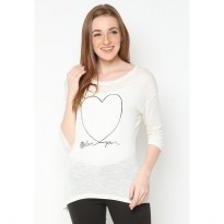 Mobile Power Ladies Casual Text Printing T-shirt - Broken White L6802
