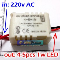 Power Driver With Casing for 4- 5x LED 1W input 220V output 12-18V Constant Current Power Supply With Protection