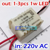 Power Driver With Casing for 3x LED 1W input 220V output 9-11V Constant Current Power Supply With Protection