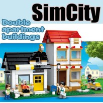 Brick SLUBAN Town Sim City B0573 - Double Apartment - Mainan Koleksi