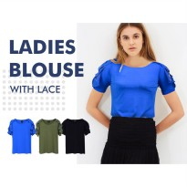 Ladies Blouse With Lace Sleeve Available In 3 Colors