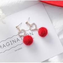 Anting Valentine Crystal Love Ball Fur Korea Earrings