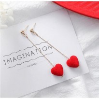 Anting Korea Red Love Drop Valentine Series Earrings