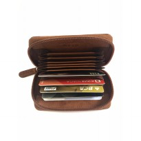Dompet Kartu Kredit Accordion Kulit Asli - Antique Saddle