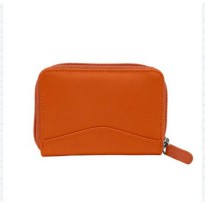 Dompet Kartu Kredit Accordion Kulit Asli - Orange
