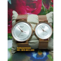 Jam Tangan Couple Alexandre Christie 8523 Rose Gold White Original