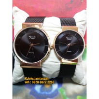 Jam Tangan Couple Alexandre Christie 8523 Rose Gold Hitam Original