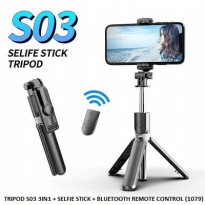 Tongsis Bluetooth 3 in 1 Tripod Selfie stick support ios android