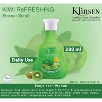Klinsen Shower Scrub Kiwi Refreshing 280ml - Sabun Mandi Cair