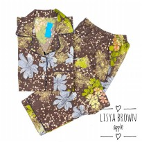 Piyama CP Lisya Flower Brown Dewasa