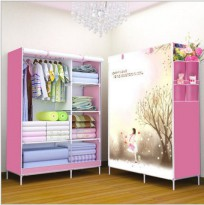 Romantic Season Multifunction Wardrobe with Cover Lemari Pakaian