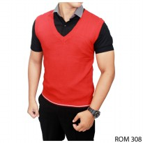 Vest For Men Rajut Merah – ROM 308