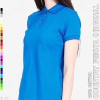 COUNTRY FIESTA Original P3-35 Baju Polo Shirt Cewe Cotton Biru Tua
