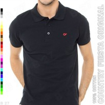 COUNTRY FIESTA Original P2-11 Kaos Polo Shirt Pria Cotton Hitam