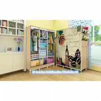 LONDON Lemari pakaian Multifunction Wardrobe with cover rak pakaian