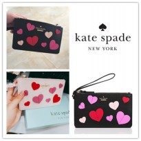 Authentic Kate Spade New York Admirer Applique Heart Slim Bee Wristlet Black