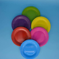 [globalbuy] Plain Solid 6 ROUND Paper PLATES Colours Birthday Party Tableware High Quality/3182291