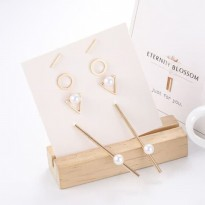 OILA Anting set 4 pasang / simple geometric pearl earrings jan192
