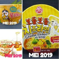 Mie samyang cheese, mie samyang honey n cheese, mie ottogi cheese all in bowl