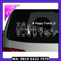 (Diskon) STIKER CUTTING STICKER KACA BELAKANG MOBIL- HAPPY FAMILY