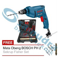 Mesin Bor 10 mm BOSCH GBM 350 RE + Tool Kit KENMASTER + Mata Obeng + Sekrup Fisher Set
