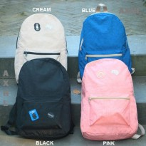 Easy Life Water Resistant Backpack - Tas Punggung Resleting Ransel Bahan Tahan Air Model Simple Lucu