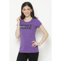 Mobile Power Ladies T-shirt Text Screen Printing - Purple MPL219