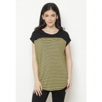 Mobile Power Ladies Batwing T-shirt Stripe Combination - Yellow&Black T6745