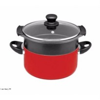[Maxim] Valentino Dutch Oven + Steamer Set Teflon Anti Lengket 24 cm