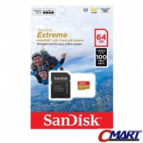 SanDisk Extreme microSD 64GB 100MB/S microSDHC - SDSQXAF-064GGN6A