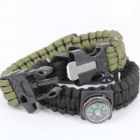 Gelang Outdoor Peluit Paracord Survival Bracelet Flint Fire Starter