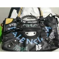 balenciaga le dix motorcycle graffiti black 34cm. ori leather high qu