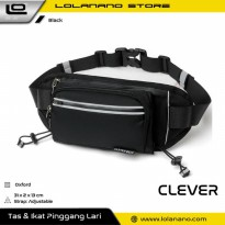 CLEVER BEES Tas Pinggang Holder Botol Minum Sporty Waist Bag - L126 - Black