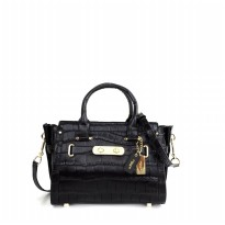 Coach Swagger 27 In Croc Embossed Leather - Black