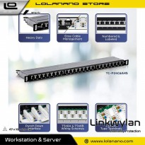 Linkwylan Cat6 Patch Panel 24 Port for 1U 19 Inch Server Rack - TC-P24C6AHS - Black