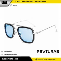 RBVTURAS Kacamata Tony Stark Steampunk HD Polarized Sunglasses - 66218 - Silver