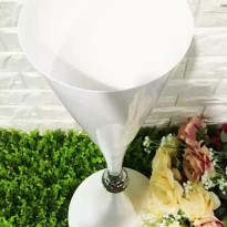 Silver Accent Tall White Vase Holder Centerpiece 70 cm