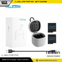 Telesin Charger Baterai 3 Slot Storage Box Card Reader with 2xBattery for GoPro Hero 5/6/7 - GP-BnC-