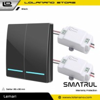 SMATRUL Saklar Lampu Wireless Switch RF 433Mhz 2 Button with 2 PCS Receiver - WHK01 - Black