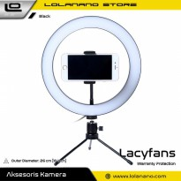 Lacyfans Lampu Halo Ring Light LED Selfie 120 LED 10 Inch with Smartphone Holder + Mini Tripod - RL-