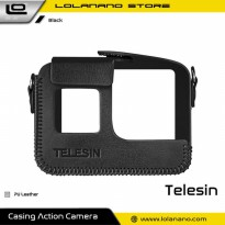 Telesin Frame Housing Protective Case PU Leather for GoPro Hero 5/6/7 - GP-PRC-567 - Black