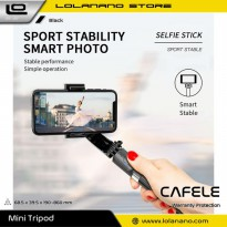 Cafele Tongsis Gimbal Stabilizer Selfie Stick Tripod Smartphone Handheld with Remote - L08 - Black