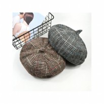 Topi Beret Pelukis Plaid Painter Hat - HO3451W