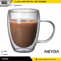 NEYDA Cangkir Double Wall Anti Panas Insulated Cup 350ml - PLY1704 - Transparent