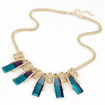 Kalung Fashion Bib Choker Blue Green Pendant