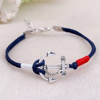 Gelang Unisex Anchor Blue Sterling Silver Plated