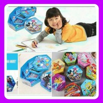Pensil Cat Warna Crayon Set Karakter Isi 46 Art Set Warna Biru