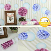 Wallpaper Sticker 10m Motif Polkadot Bunga