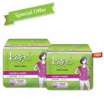 (GET2PACK) Kotex Fresh Liners Longer and Wider Unscented Isi 32PADS