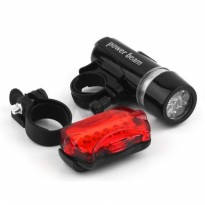 Lampu Sepeda / Powerbeam Bicycle Head Light + Rear Safety Flash